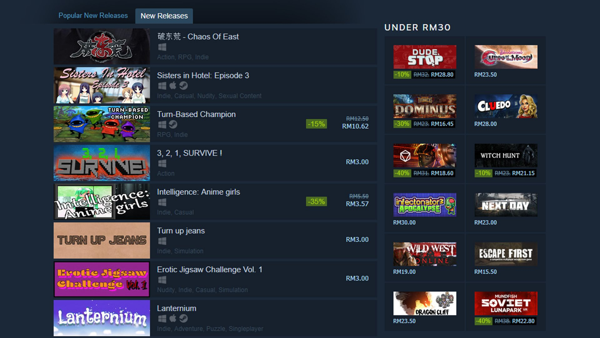 Steam New Releases